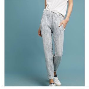 Anthropologie 100% Linen Pin Striped Casual Pants